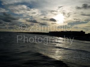 beach, folly beach, ocean, sunset