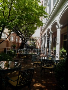 charleston, south carolina, tables, architecture, trees