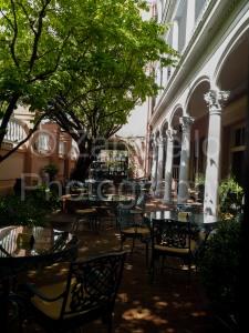 charleston, south carolina, tables, architecture, trees