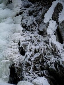 waterfall, frozen, winter, maine